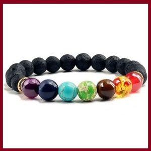 Lava Stone & Chakra Healing Beaded Bracelet